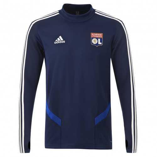 Sweat entrainement col rond bleu marine joueur Junior OL adidas 19-20 - Taille - 7-8A