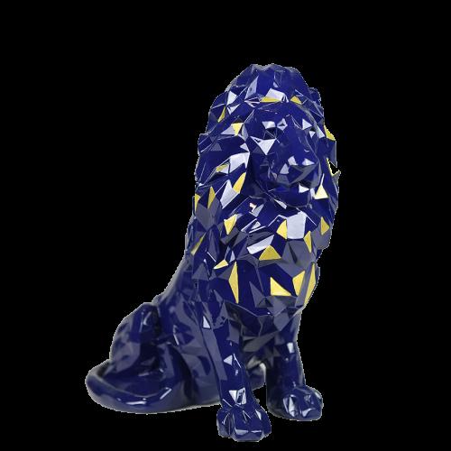 Statue lion bleu à facettes dédicacée (Mendes, Memphis, Koné, Dubois) - Taille - Unique